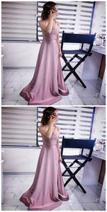 A-Line Scoop Sweep Train Blush Satin Prom Dress with Sequin, D0375