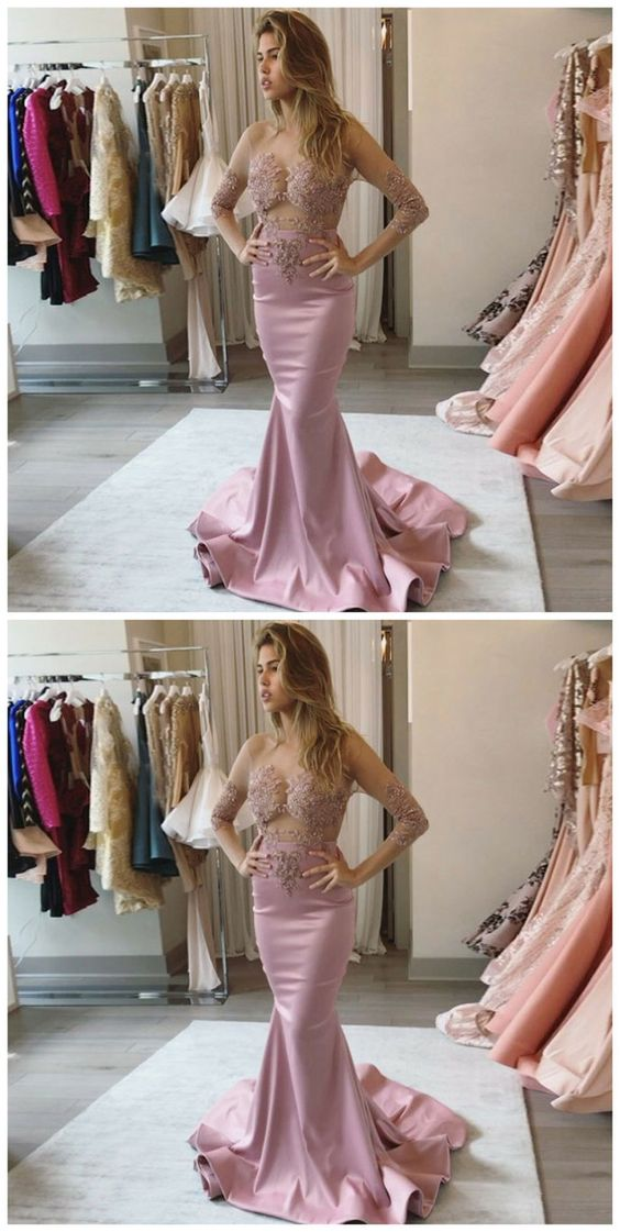 Mermaid Round Neck Long Sleeves Blush Satin Prom Dress with Lace, D0376