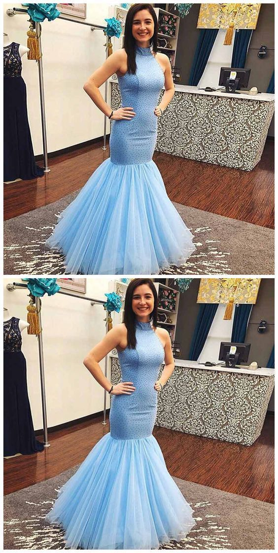 Sky Blue Prom Dresses,Mermaid Prom Dress,Beaded Formal Dress,Evening Gowns,Special Occasion Dress, D0377
