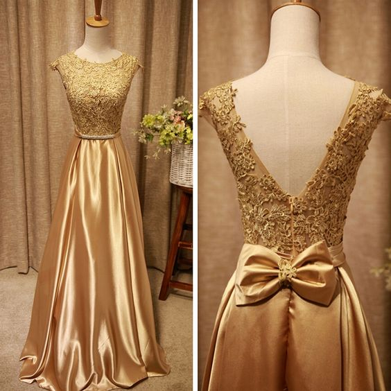 Champagne Satin And Lace Long V-neckline Long Prom Dress, Lovely Party Dress, D0378