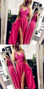 A-Line V-Neck Open Back Fuchsia Long Homecoming Dress with Lace, D0379