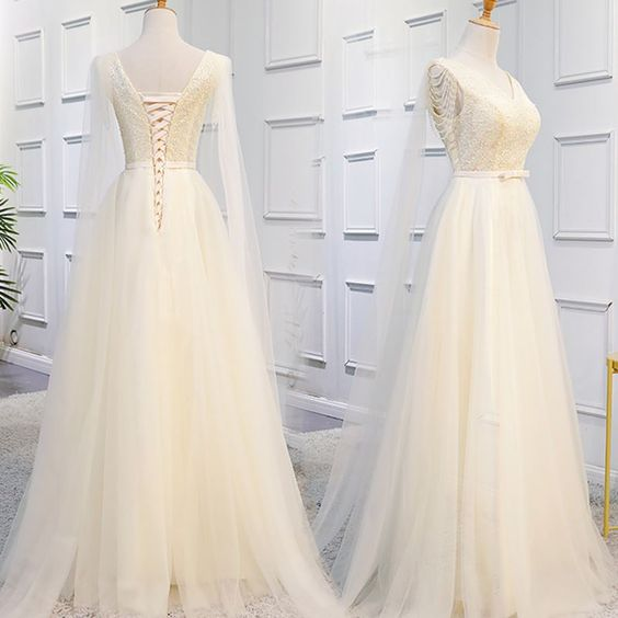 Champagne Long Tulle Formal Gowns, Elegant Party Dress 2019, Prom Dress , D0380