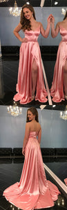 simple straps v neck pink long prom dress with side slit, 2019 long homecoming dress prom dress party dress , D0382