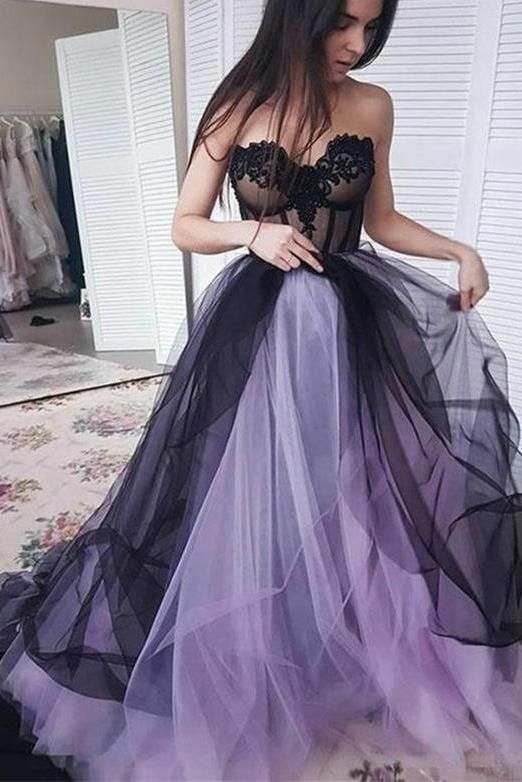 New Arrival Sweetheart Long Tulle Sleeveless Lilac Black Prom Dress with Appliques , D0385