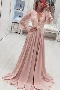 Fashion t A-Line V-Neck Long Pink Prom Dress with Long Sleeves Appliques, D0386