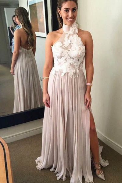 A Line Chiffon High Neck Long Prom Dresses With Appliques , D0387