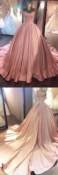 Pink Sweetheart Lace Long Ball Gown Prom Dress,sweet 16 dress  , D0389