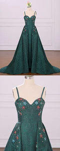 Emerald Green Spaghetti Straps Cheap Long Evening Prom Dresses, Cheap Custom Sweet 16 Dresses, D0392