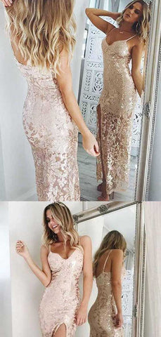 Luxury Spaghetti Straps Split Sequins With Appliques Prom Dress, D0393