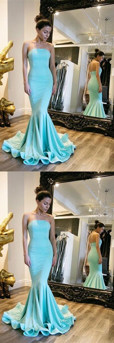 Blue Mermaid Sweep Train Strapless Sleeveless Mid Back Prom Dress,Formal Dress, D0397