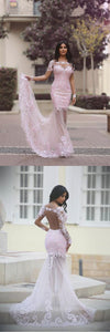 Pink Trumpet Court Train Long Sleeve Sheer Back Appliques Beading Prom Dress,Party Dress, D0398