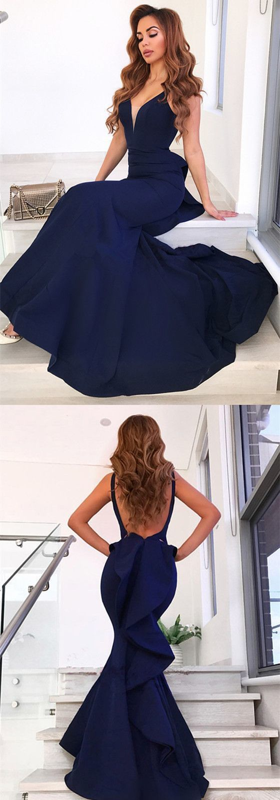 Mermaid Sexy V-Neck Full Lace Backless Cap Sleeves Long Prom Dress, D0401