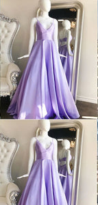 A-line Spaghetti Straps Purple Satin Long Prom Dresses,Cheap Prom Dresses, D0402