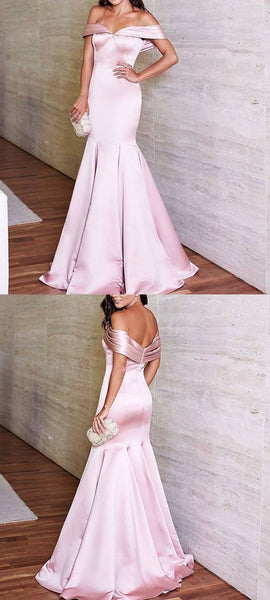 Elegant Mermaid Off Shoulder Satin Long Prom Evening Formal Gown Dress, D0409