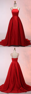 A-Line Spaghetti Straps Sweep Train Red Satin Prom Dress, D0410