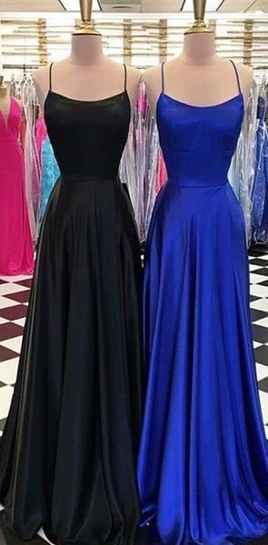 Criss Cross Black Royal Blue Simple Party Cheap Modest Long Prom Dresses, Evening Dresses, D0412