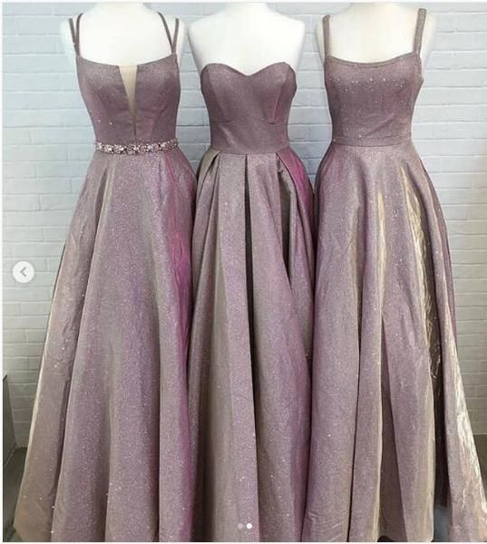 A-line Long Modest Prom Dresses, Gorgeous Newest Mismatched Bridesmaid Dresses, D0417