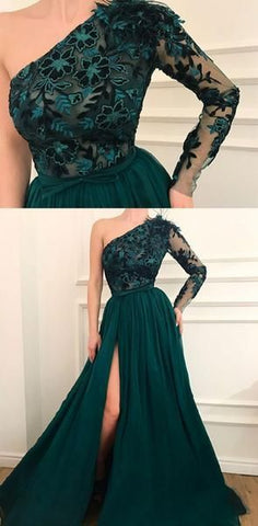 One Shoulder Appliques Side Split Modest Prom Dresses, Elegant Eevening Dresses, D0418