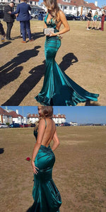 Cheap Mermaid Deep-Neck Spagheeti Straps Backless Turquoise Simple Prom Dresses, D0421