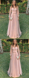 A-line Elegant V-NECK Long Sleeves Pink Long Prom Dresses with belt , D0422