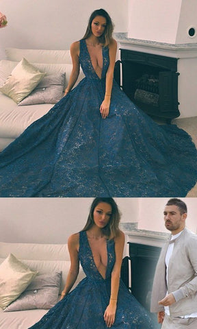 Deep V-Neck Sexy Fashion Full Lace Prom Dresses, Modern Fashion Prom Dress, D0423