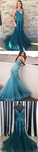 White Red Teal Turquoise Grey V-neck Spaghetti Straps Sexy Elegant Prom Dresses, Long Prom Dress,, D0427