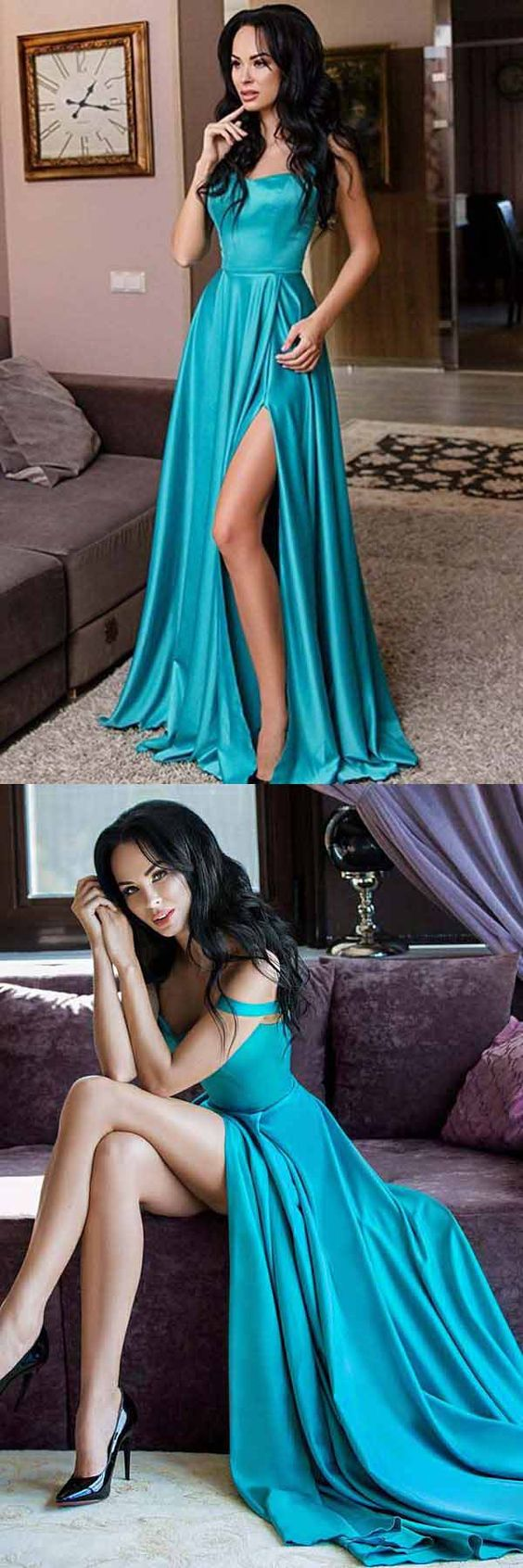 A-Line Straps Floor Length Turquoise Satin Prom Dress with Split, D0432