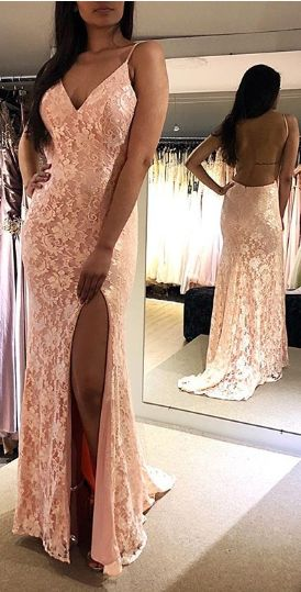2019 Backless Lace Prom Dress, long prom dress, evening dress,Ball Gown,prom dresses , D0435