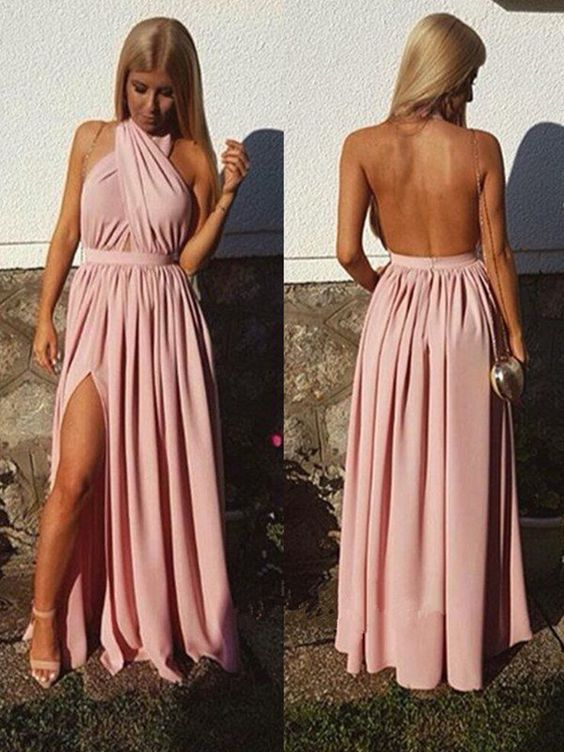 2018 Charming Prom Dress,Sexy Floor-length Pleats Open Back Evening Party Dress , Sexy Split Side Long Prom Dress, D0440
