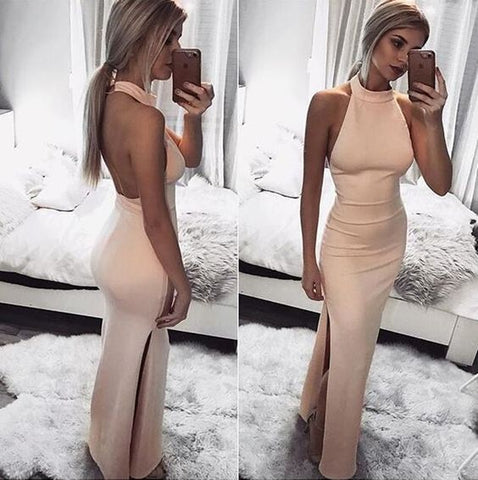 2018 Charming Backless Long Prom Dress, Sexy Sleeveless Evening Dress, Floor Length Halter Prom Dresses, D0441