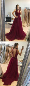 Sexy V-Neck A-Line Beading Prom Dresses,Long Prom Dresses,Cheap Prom Dresses, Evening Dress Prom Gowns, Formal Women Dress,Prom Dress  , D0444