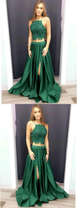 Spaghetti Straps Two Pieces A-Line Prom Dresses,Long Prom Dresses,Green Prom Dresses, Evening Dress Prom Gowns, Formal Women Dress,Prom Dress, D0455