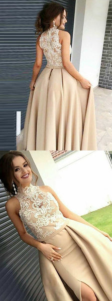 A-Line High Neck Detachable Train Champagne Satin Prom Dress with Appliques, D0457