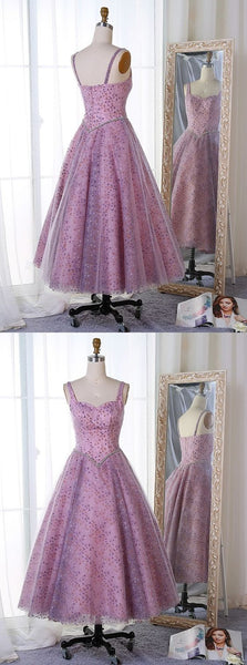 A-Line Straps Mid-Calf Lavender Tulle Prom Dress with Lace Beading,D0458