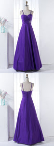 A-Line Spaghetti Straps Floor-Length Purple Beaded Satin Bridesmaid Dress, D0459