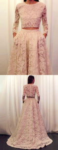 Two Piece Jewel Long Sleeves Sweep Train White Lace Prom Dress with Pockets,D0460