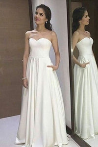 A-Line Sweetheart Floor-Length White Prom Dress with Pleats,D0462