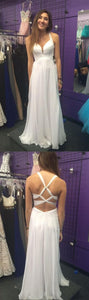 long prom dresses,white prom dresses,simple prom dresses,cheap prom dresses,D0466