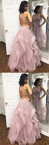 Sexy Deep V-neck Organza Ruffles Prom Dresses Ball Gowns,D0472