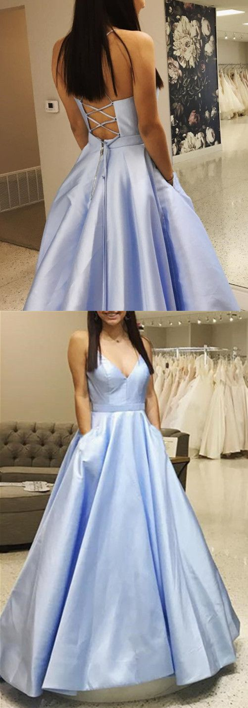 Light Blue Satin V-neck Cross Back Prom Dresses 2019,D0474