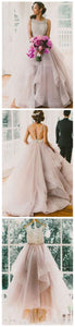 A line Scoop Neckline Organza Wedding Dresses, 2017 Long Custom Wedding Gowns, Affordable Bridal Dresses, D0475