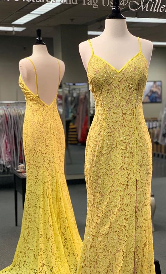 Gorgeous Straps Yellow Mermaid Lace Long Prom Dress,D0476