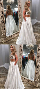 Unique Two Piece White Prom Dresses With Pockets,D0481