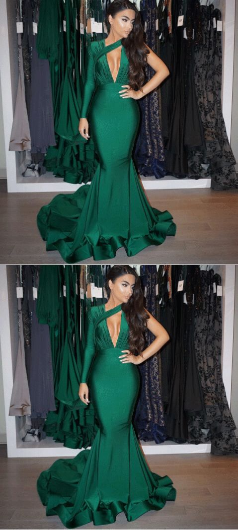 Emerald Evening Dresses, Mermaid Evening Gowns,Long Sleeve Prom Dresses,D0484