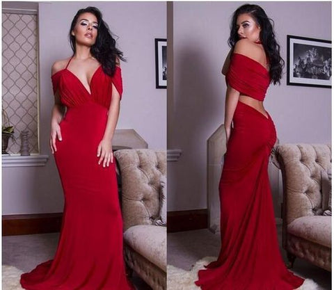 Halter V Off Shoulder Mermaid Prom Dresses Sexy Backless Long Cocktail Party Evening Gowns Cheap,D0486