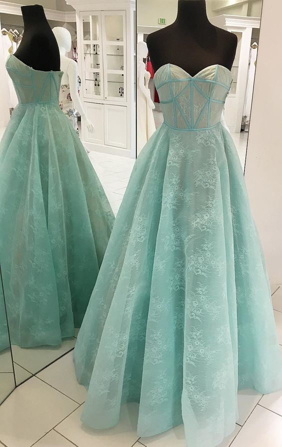 Princess Sweetheart Mint Green Lace Long Prom Dress,D0491