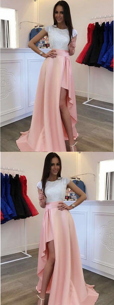Cap Sleeves Round Neck Lace Bodice Asymmetry Pink Satin Prom Dress,D0494