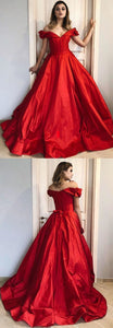 Gorgeous Off The Shoulder Red Long Ball Gown,D0495