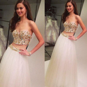Two Pieces Sweetheart Prom Dresses,D0499