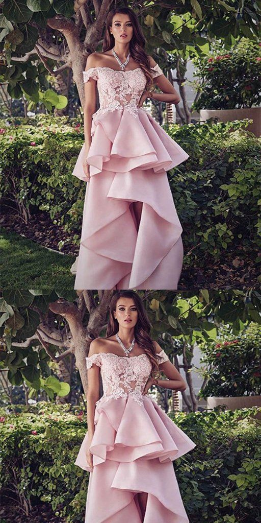 Off-The-Should Hi-lo Pink Lace Long Prom Dresses ,Cheap Prom Dresses,D0500